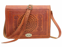 Moroccan  Bag  Real Leather  Messenger Crossbody Handbag Rich Tan Handmade VLB11